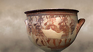 'House of Warriors Vase' : Pictoral Mycenaean Krater depicting Mycenaean soldiers in full armour, Mycenae Acropolis, 12th Cent BC.  National Archaeological Museum Athens. Cat no 1426. <br /> <br /> This large pictoral Mycenaean Krater depicts Mycenaean soldiers full armed with helmet, cuirass, greaves, shield and spaer as they depart for war. This is a superb example of Mycenaean pictoral pottery .<br /> <br /> If you prefer to buy from our ALAMY PHOTO LIBRARY  Collection visit : https://www.alamy.com/portfolio/paul-williams-funkystock/mycenaean-art-artefacts.html . Type -   Athens    - into the LOWER SEARCH WITHIN GALLERY box. Refine search by adding background colour, place, museum etc<br /> <br /> Visit our MYCENAEN ART PHOTO COLLECTIONS for more photos to download  as wall art prints https://funkystock.photoshelter.com/gallery-collection/Pictures-Images-of-Ancient-Mycenaean-Art-Artefacts-Archaeology-Sites/C0000xRC5WLQcbhQ