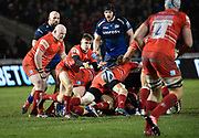 Leicester Tigers scrum-half Jack Van Poortvliet throws out a pass from a breakdown during a Gallagher Premiership Rugby Union match Sale Sharks -V- Leicester Tigers, Sale won the match 36-3 on Friday, Feb. 21, 2020, in Eccles, United Kingdom. (Steve Flynn/Image of Sport via AP)