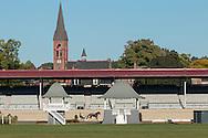 Goshen, New York - Harness racing horses train at Goshen Historic Track on Oct. 4, 2016.