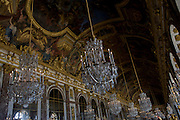The 73 metre long Hall of the Mirrors in the King's Grand Apartment, Versaille, Paris. The Hall of Mirrors (Grande Galerie or Galerie des Glaces) is the central gallery of the Palace of Versailles and is renowned as being one of the most famous rooms in the world.