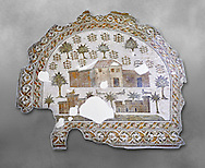 4th century AD Roman mosaic depiction of Roman Villa farms in Africa. The Bardo Museum, Tunis, Tunisia. Grey background .<br /> <br /> If you prefer to buy from our ALAMY PHOTO LIBRARY  Collection visit : https://www.alamy.com/portfolio/paul-williams-funkystock/roman-mosaic.html - Type -   Bardo    - into the LOWER SEARCH WITHIN GALLERY box. Refine search by adding background colour, place, museum etc<br /> <br /> Visit our ROMAN MOSAIC PHOTO COLLECTIONS for more photos to download  as wall art prints https://funkystock.photoshelter.com/gallery-collection/Roman-Mosaics-Art-Pictures-Images/C0000LcfNel7FpLI