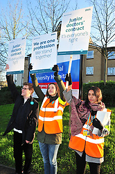 © Licensed to London News Pictures. 12/01/2016<br />  Junior Doctors picket line outside Princess Royal University Hospital in Farnborough,Kent.<br /> <br /> Junior Doctors have begun a 24 hour strike from 8am this morning across the UK. About 100 picket lines are outside hospitals.<br /> <br /> (Byline:Grant Falvey/LNP)