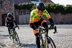 Janneke Ensing over the cobbles at Le Samyn des Dames 2018 - a 103 km road race on February 27, 2018, from Quaregnon to Dour, Belgium. (Photo by Sean Robinson/Velofocus.com)