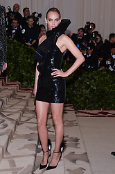 Amber Valetta walking the red carpet at The Metropolitan Museum of Art Costume Institute Benefit celebrating the opening of Heavenly Bodies : Fashion and the Catholic Imagination held at The Metropolitan Museum of Art  in New York, NY, on May 7, 2018. (Photo by Anthony Behar/Sipa USA)