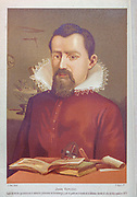 Johannes Kepler [Juan Keplero] (27 December 1571 – 15 November 1630) was a German astronomer, mathematician, and astrologer. He is a key figure in the 17th-century scientific revolution, best known for his laws of planetary motion, and his books Astronomia nova, Harmonices Mundi, and Epitome Astronomiae Copernicanae. These works also provided one of the foundations for Newton's theory of universal gravitation. From the book La ciencia y sus hombres : vidas de los sabios ilustres desde la antigüedad hasta el siglo XIX T. 2  [Science and its men: lives of the illustrious sages from antiquity to the 19th century Vol 2] By by Figuier, Louis, (1819-1894); Casabó y Pagés, Pelegrín, n. 1831 Published in Barcelona by D. Jaime Seix, editor , 1879 (Imprenta de Baseda y Giró)