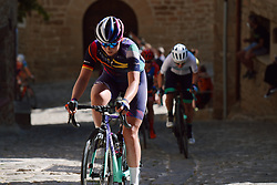 Lisa Klein (GER) battles up the cobbled climb at the 2020 Clasica Feminas De Navarra, a 122.9 km road race starting and finishing in Pamplona, Spain on July 24, 2020. Photo by Sean Robinson/velofocus.com