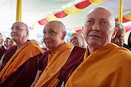 Ven Karma Lekshe Tsomo attending the geshema ceremony with Jetsunma Tenzin Palmo, Ven Thubten Chödren and Bhiksuni Jampa Tsedroen at Drepung Lachi Monastery in Mundgod, Karnataka, India on December 22, 2016