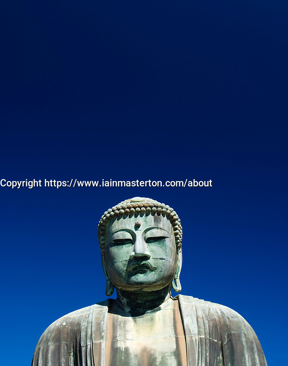 Detail of Great Buddha statue at Kamakura in Japan