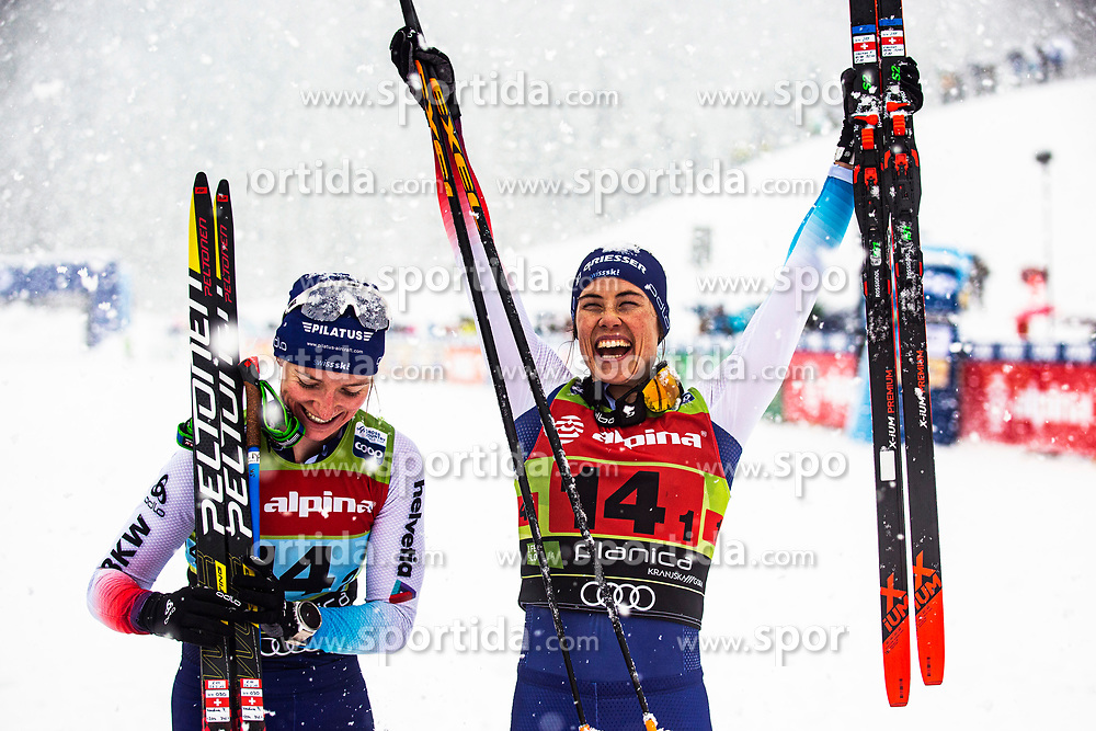 Nadine Faehndrich (SUI), Nadine Faehndrich (SUI)celebrating 3th place after Ladies team sprint race at FIS Cross Country World Cup Planica 2019, on December 22, 2019 at Planica, Slovenia. Photo By Peter Podobnik / Sportida