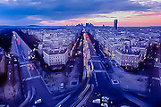 Aerial view of sunset over Paris, France