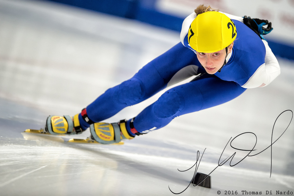 March 20, 2016 - Verona, WI - Kristen Santos, skater number 257 competes in US Speedskating Short Track Age Group Nationals and AmCup Final held at the Verona Ice Arena.