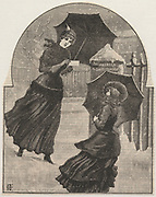 'Young women with umbrellas posting letters in pillarbox on a snowy, windy afternoon. Engraving, London, 1886.'
