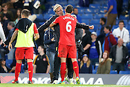 Jurgen Klopp, the Liverpool manager hugs Dejan Lovren of Liverpool after the final whistle.Premier league match, Chelsea v Liverpool at Stamford Bridge in London on Friday 16th September 2016.<br /> pic by John Patrick Fletcher, Andrew Orchard sports photography.