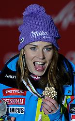 05.02.2013, Medal Plaza, Schladming, AUT, FIS Weltmeisterschaften Ski Alpin, Super G, Damen, Siegerehrung, im Bild v.l. Lara Gut (SUI, 2. Platz), Tina Maze (SLO, 1. Platz), Julia Mancuso (USA, 3. Platz) // from left 2nd place Lara Gut of Switzerland, 1st place Tina Maze of Slovenia, 3rd place Julia Mancuso of United States at the Winner Award Ceremony during Ladies Super G at the FIS Ski World Championships 2013 at the Medal Plaza, Schladming, Austria on 2013/02/05. EXPA Pictures © 2013, PhotoCredit: EXPA/ Sandro Zangrando