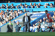 José Mourinho, the Chelsea Manager looks on during the first half from the touchline. Barclays Premier league match, Chelsea v Manchester Utd at Stamford Bridge Stadium in London on Saturday 18th April 2015.<br /> pic by John Patrick Fletcher, Andrew Orchard sports photography.