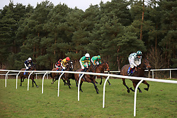 Horses go around the bend in the 32Red Casino EBF Mares' 'National Hunt' Maiden Hurdle at Market Rasen Racecourse