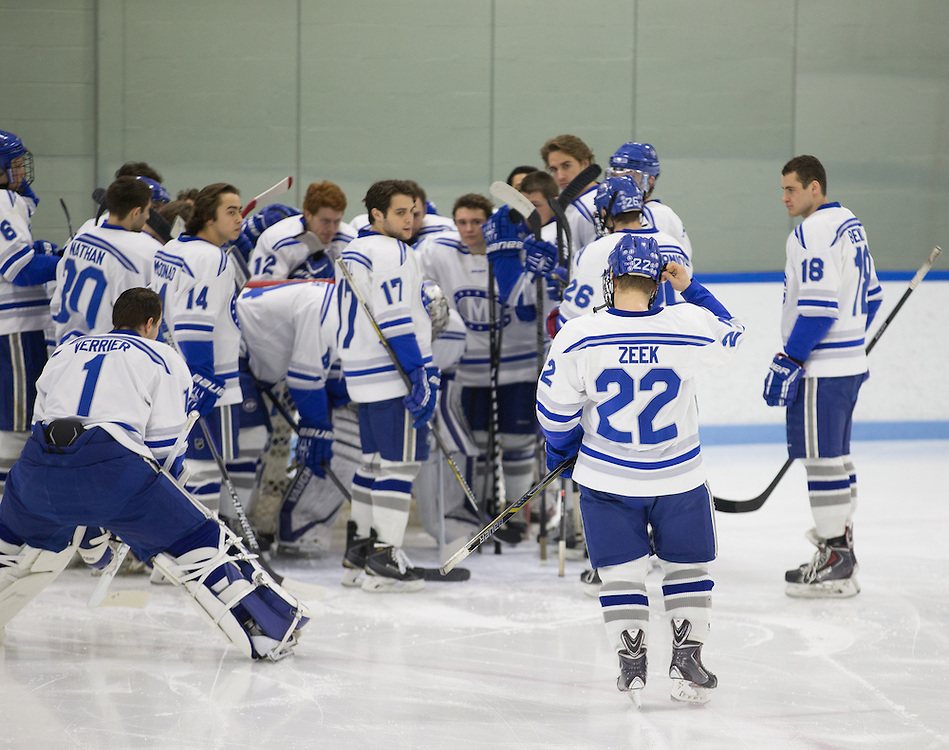 Ray Zeek, of Colby College, in a NCAA Division III hockey game against Connecticut College on February 20, 2015 in Waterville, ME. (Dustin Satloff/Colby College Athletics)