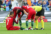 Portugal Forward Cristiano Ronaldo injured during the Euro 2016 final between Portugal and France at Stade de France, Saint-Denis, Paris, France on 10 July 2016. Photo by Phil Duncan.