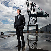 New Clydeport director Martin Allison at the port in Greenock. <br /> Picture Robert Perry 10th June 2014  <br /> <br /> Must credit photo to Robert Perry<br /> <br /> Image is free to use in connection with the promotion of the above company or organisation. 'Permissions for ALL other uses need to be sought and payment make be required.<br /> <br /> <br /> Note to Editors:  This image is free to be used editorially in the promotion of the above company or organisation.  Without prejudice ALL other licences without prior consent will be deemed a breach of copyright under the 1988. Copyright Design and Patents Act  and will be subject to payment or legal action, where appropriate.<br /> www.robertperry.co.uk<br /> NB -This image is not to be distributed without the prior consent of the copyright holder.<br /> in using this image you agree to abide by terms and conditions as stated in this caption.<br /> All monies payable to Robert Perry<br /> <br /> (PLEASE DO NOT REMOVE THIS CAPTION)<br /> This image is intended for Editorial use (e.g. news). Any commercial or promotional use requires additional clearance. <br /> Copyright 2014 All rights protected.<br /> first use only<br /> contact details<br /> Robert Perry     <br /> 07702 631 477<br /> robertperryphotos@gmail.com<br />        <br /> Robert Perry reserves the right to pursue unauthorised use of this image . If you violate my intellectual property you may be liable for  damages, loss of income, and profits you derive from the use of this image.