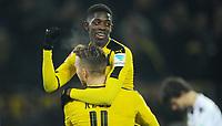 Fotball<br /> Tyskland<br /> Foto: Witters/Digitalsport<br /> NORWAY ONLY<br /> <br /> 3:1 Jubel v.l. Torschuetze Ousmane Dembele, Marco Reus (Dortmund)<br /> Dortmund, 03.12.2016, Fussball Bundesliga, Borussia Dortmund - Borussia Moenchengladbach