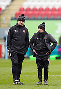 Leicester Tigers Head Coach Steve Borthwick and  Assistant Coach Mike Ford watch their team warm up before a Gallagher Premiership Round 10 Rugby Union match, Friday, Feb. 20, 2021, in Leicester, United Kingdom. (Steve Flynn/Image of Sport)