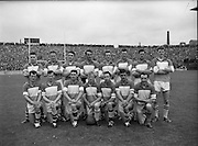Senior Football Final, Dublin v Offaly..1962..15.07.1962..07.15.1962..15th July 1962..Today saw the final of the Leinster Senior Football championship, The Delaney Cup, Dublin ran out the winners with a 2-8 to 1-7 scoreline against Offaly...Image shows the Offaly team who took the field at Croke Park today.
