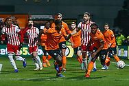 Barnet forward Medy Elito (21) and Barnet forward Shaquile Coulthirst (10) chase possession during The FA Cup fourth round match between Barnet and Brentford at The Hive Stadium, London, England on 28 January 2019.