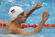 Richard Nagy of Slovakia celebrates getting the Silver medal on day 14 of the 33rd  LEN European Aquatics Championship Swimming Finals 2016 at the London Aquatics Centre, London, United Kingdom on 22nd May 2016. Photo by Martin Cole.
