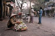 Color film photograph of Vietnamese woman selling fruit from baskets along a sidewalk, Truc Bach, Hanoi, Vietnam, Southeast Asia