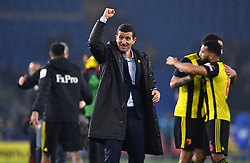 Watford manager Javi Gracia celebrates after the final whistle during the Premier League match at the Cardiff City Stadium.