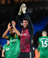 Football - 2018 / 2019 Premier League - Crystal Palace vs. Watford<br /> <br /> Watford's Ben Foster celebrates with Adrian Mariappa at the final whistle after their 2-1 victory, at Selhurst Park.<br /> <br /> COLORSPORT/ASHLEY WESTERN