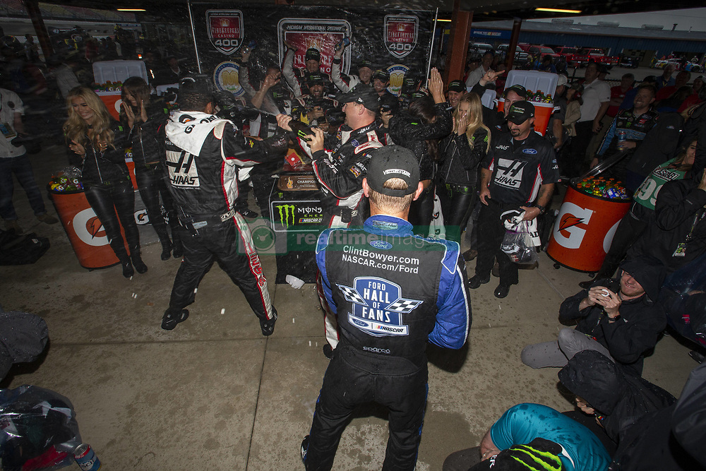 June 10, 2018 - Brooklyn, Michigan, United States of America - Clint Bowyer (14) wins the FireKeepers Casino 400 during a weather delay at Michigan International Speedway in Brooklyn, Michigan. (Credit Image: © Stephen A. Arce/ASP via ZUMA Wire)