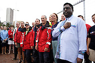 DURBAN -16 November 2005 - Taking second place in the second leg of the 2005 Clipper Round the World Yacht Race, spectators and the crew of the New York Clipper listen to the South African national anthem with Durban's deputy mayor Logie Naidoo (right). Picture: Giordano Stolley