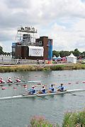 Eton Dorney, Windsor, Great Britain,..2012 London Olympic Regatta, Dorney Lake. Eton Rowing Centre, Berkshire[ Rowing]...Description;  GRE M4-. GRE M4-.. Bow Stergios PAPACHRISTOS, Ioannis ?SILIS.Georgios ????LLAS and stroke, Ioannis CHRISTOU.   Dorney Lake. 11:30:05  Monday  30/07/2012 [Mandatory Credit: Peter Spurrier/Intersport Images]  .