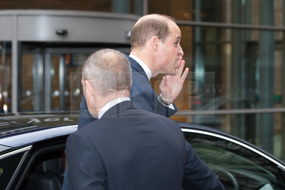 © Licensed to London News Pictures . 06/12/2017 . Manchester , UK . Prince William calls to the crowd as he leaves . The Duke And Duchess Of Cambridge, Prince William and Kate Middleton, leave the Children's Global Media Summit at the Manchester Central Convention Centre . Photo credit : Joel Goodman/LNP