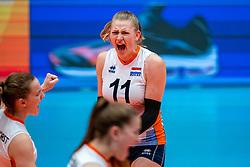 Elles Dambrink of Netherlands celebrate during United States - Netherlands, FIVB U20 Women's World Championship on July 15, 2021 in Rotterdam