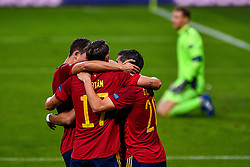 SEVILLE, SPAIN - Tuesday, November 17, 2020: Ferran Torres of Spain celebrating his goal with teammates during the UEFA Nations League match between Spain and Germany at Estadio La Cartuja de Sevilla. (Photo by Pablo Morano/Orange Pictures via Propaganda)