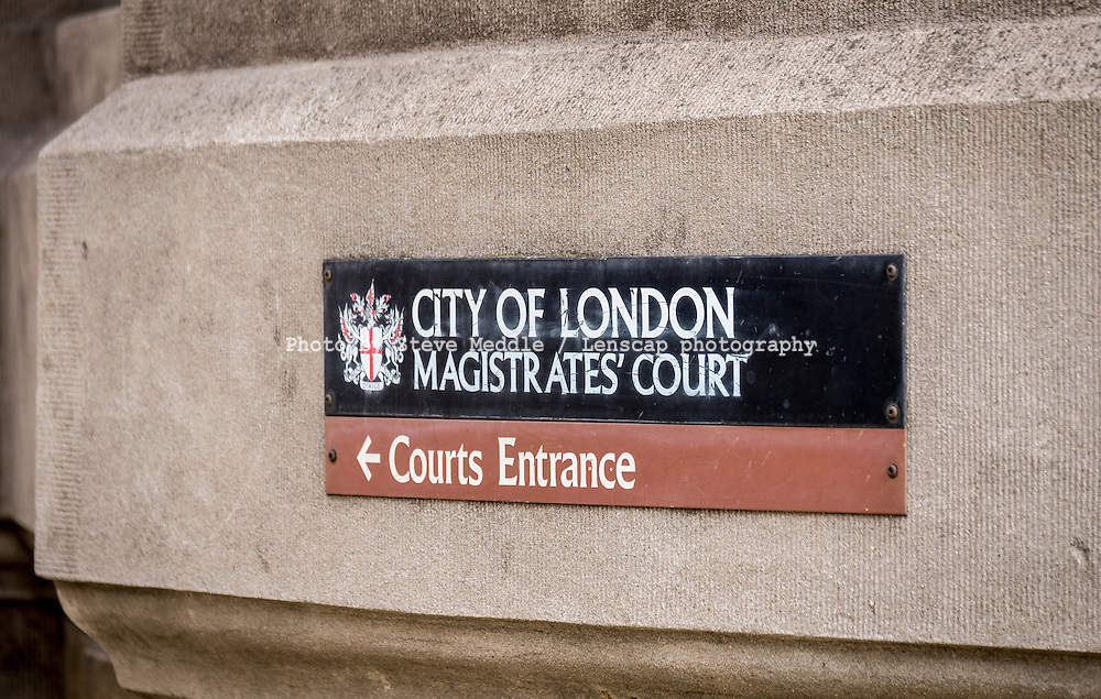 City of London Magistrates Court Sign - 20 Mar 2014.