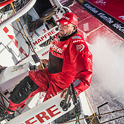 Leg 6 to Auckland, day 08 on board MAPFRE, Xabi Fernandez going from leeward to windward, a challenge with 30 degrees of boat heel. 14 February, 2018.