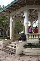 Valencia Plaza, in the hillside town of Valencia near Dumaguete.  Next to the plaza's gazebo lies the Spanish Fountain a relic of the town's colorful historical past at the heart of the municipal plaza, has a unique sunken design, and was once the town's major source of water supply invented by an Augustinian friar to channel water from an upland spring.