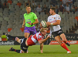 Shaun Venter of the Free State Cheetahs and Ross Cronje(C) of the Lions during the Currie Cup Premier division match between the The Free State Cheetahs and the Lions held at Toyota Stadium (Free State Stadium), Bloemfontein, South Africa on the 15th September 2016<br /> <br /> Photo by:   Frikkie Kapp / Real Time Images