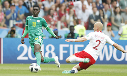 MOSCOW, June 19, 2018  Ismaila Sarr (L) of Senegal vies with Michal Pazdan of Poland during a Group H match between Poland and Senegal at the 2018 FIFA World Cup in Moscow, Russia, June 19, 2018. (Credit Image: © Cao Can/Xinhua via ZUMA Wire)