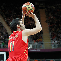 31 July 2012: Spain Fernando San Emeterio takes a jumpshot during the first half of Spain vs Australiaa, during the men's basketball preliminary, at the Basketball Arena, in London, Great Britain.