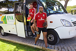 VALE DO LOBO, PORTUGAL - Friday, May 27, 2016: Wales' captain Ashley Williams and Paul Dummett arrive for training on during day four of the pre-UEFA Euro 2016 training camp at the Vale Do Lobo resort in Portugal. (Pic by David Rawcliffe/Propaganda)