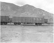 Side view of D&RGW high-side gondola #9571, possibly at Silverton.<br /> D&RGW  Silverton ?, CO  ca. 1947