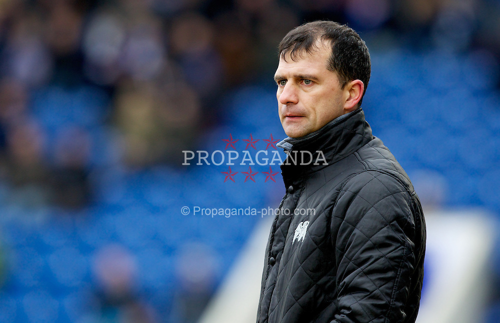 COLCHESTER, ENGLAND - Saturday, February 23, 2013: Colchester United's manager Joe Dunne during the Football League One match against Tranmere Rovers at the Colchester Community Stadium. (Pic by Vegard Grott/Propaganda)