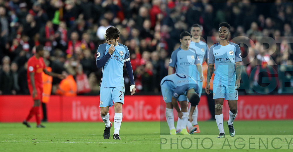David Silva of Manchester City reacts after the English Premier League match at Anfield Stadium, Liverpool. Picture date: December 31st, 2016. Photo credit should read: Lynne Cameron/Sportimage