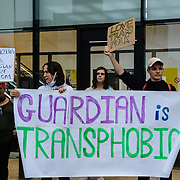 Protesters gather outside The Guardian/Observer headquarters in London in what they say are the newspapers consistent publishing of articles that push transphobic tropes on 7 October 2021, London, UK.