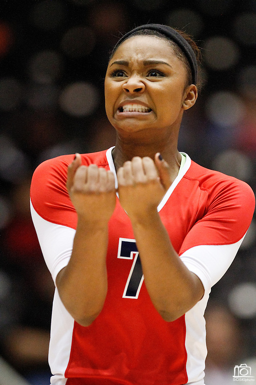 McKinney Boyd's Megan Mollett (7) reacts to a call in the Class 5A semi-final match against New Braunfels at the Curtis Culwell Center in Garland, Texas, on November 16, 2012.  Mollett left the match in the first set due to a knee injury.  (Stan Olszewski/The Dallas Morning News)