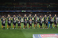 Arsenal players line up before k/o during the UEFA Champions League official anthem. UEFA Champions league group A match, Arsenal v FC Basel at the Emirates Stadium in London on Wednesday 28th September 2016.<br /> pic by John Patrick Fletcher, Andrew Orchard sports photography.